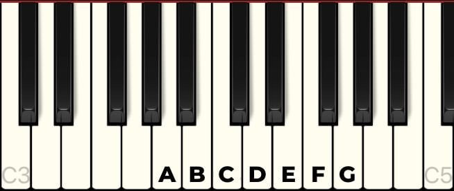 white notes on the piano 1 octave