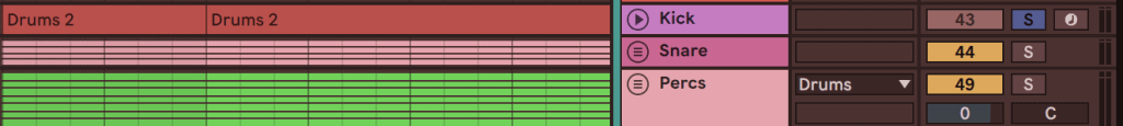 grouping kick & snare in ableton live