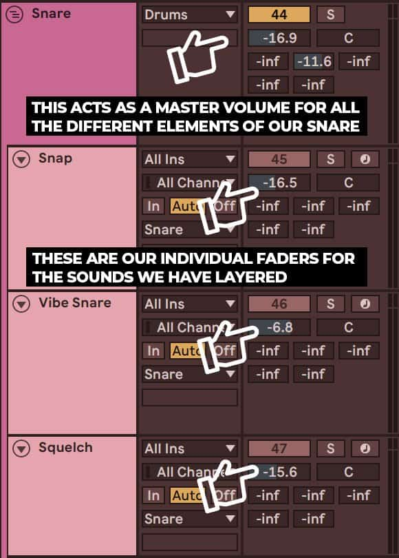 group of snare drums in ableton live