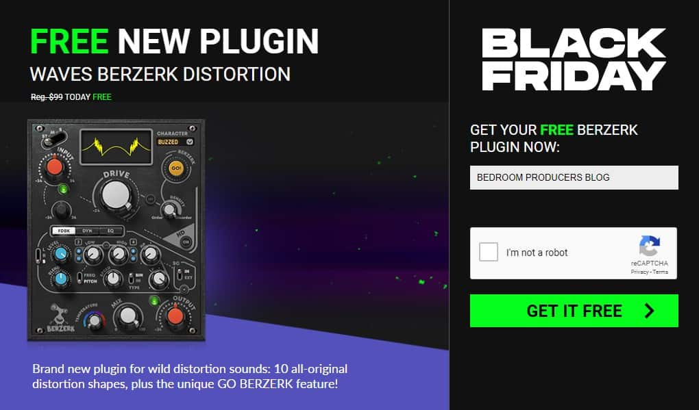 waves berzerk free black friday plugin deal