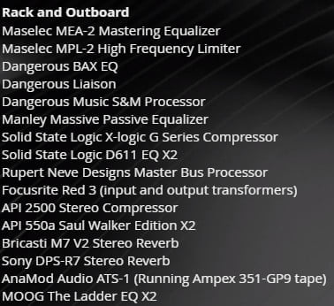dominion mastering services outboard analog gear list